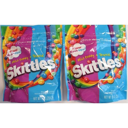 Skittles Flavor Mash-ups Wild Berry and Tropical (Pack of 2 9 Ounce Bags) 9 Ounce Bags Pack