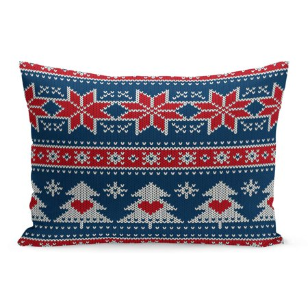 BOSDECO Blue Winter Holiday Knitted Pattern Christmas Trees and Snowflakes Pillowcase Pillow Cover Cushion Case 20x30 inch - image 1 of 1