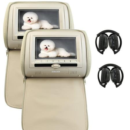 Car pair of Headrests System Twin EinCar Units Beige 7 inch LCD Dual