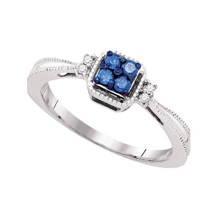 10k White Gold Blue Color Enhanced Round Diamond Womens Simple Cluster Band Ring 1/6 Cttw - image 1 de 1