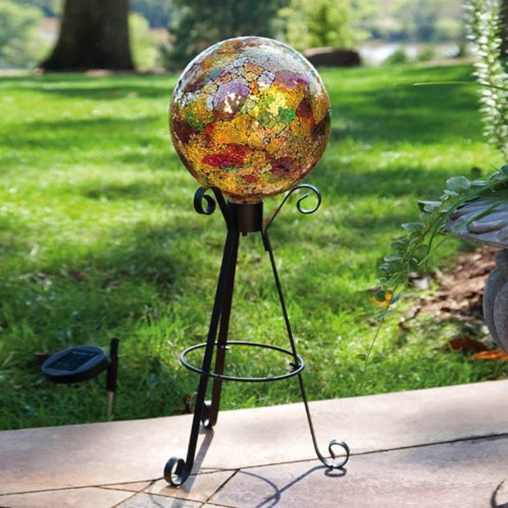 Gold Metallic Mosaic Glass Gazing Ball by EVERGREEN ENTERPRISES