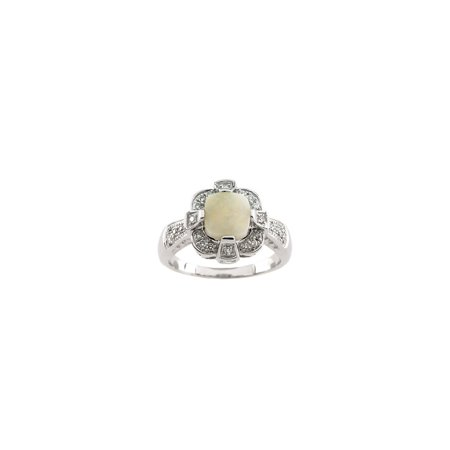 14k White Gold 0.2 Dwt Polished Opal Cab and Diamond Ring -- Size 6.5