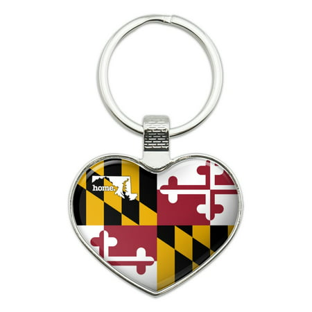 Maryland MD Home State Flag Officially Licensed Heart Love Metal Keychain Key Chain Ring