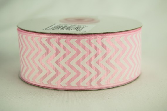 "5 yards Pink flat chevron printed 1/"" grosgrain ribbon by the yard DIY hair bow"