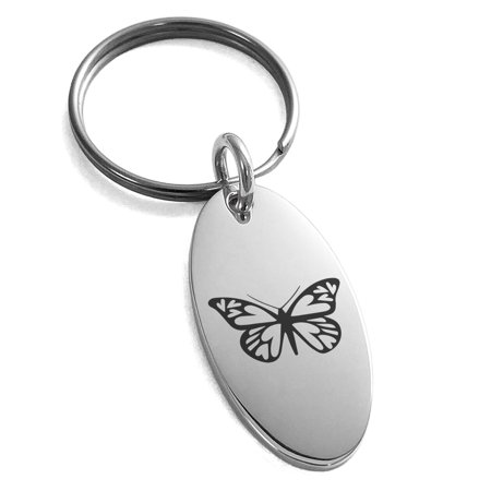 Stainless Steel Love Butterfly Engraved Small Oval Charm Keychain - Custom Engraved Keychains