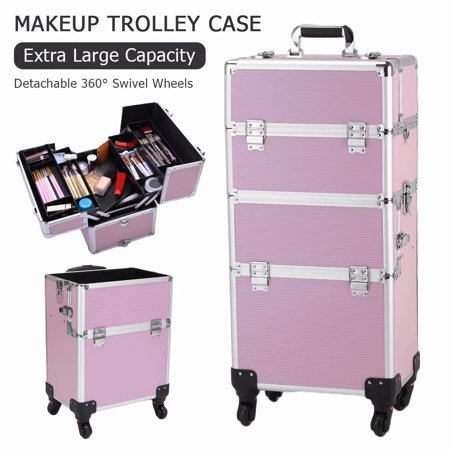 Akoyovwerve 3 in 1 Aluminum Rolling Cosmetic Makeup Train Cases Trolley Artist Organizer Box, Pink