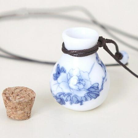 Flower Perfume Bottle - Ceramic Lucky Wishing Perfume Oil Bottle Necklace Blue Flower Design WBN-002