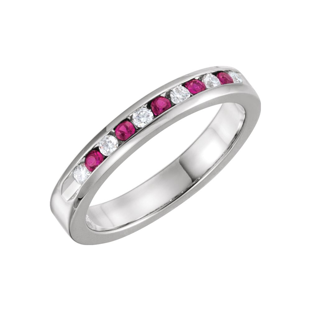 14k White Gold Ruby & 1 8 Ct Diamond Classic Channel Set Anniversary Wedding Band Size 6 by