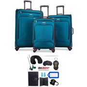 American Tourister Pop Max 3 Piece Luggage Spinner Set 29 Inch, 25 Inch, 21 Inch Teal (115358-2824) Bundle with Luggage Accessory Kit (Neck Pillow, Notepad, Passport Case, Ear Plugs (6 Items))