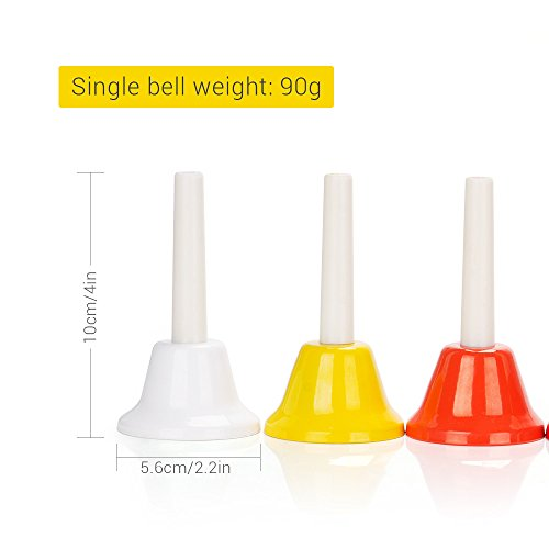 Hand Bell Set 8 Note Diatonic Metal Bells Musical Colorful Bells for Kids Children and Toddles