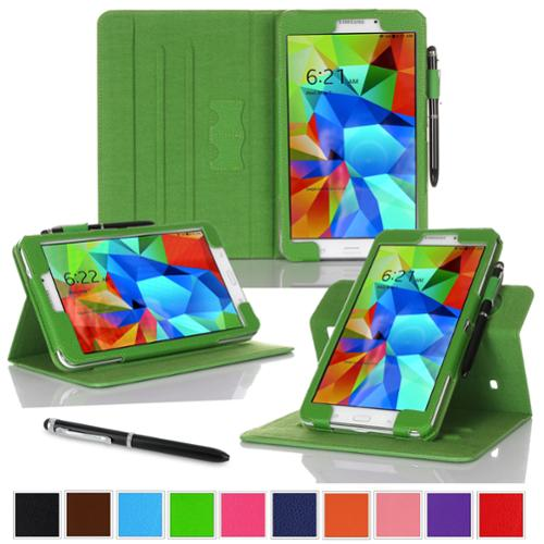 """rooCASE Samsung Galaxy Tab 4 8.0 SM-T330 Tablet Case - Dual View Multi-Angle Stand Cover with Pen Stylus for Tab4 8-Inch 8"""", Green (Supports Auto Sleep/Wake)"""