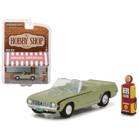 1969 Chevrolet Camaro Convertible Green with Vintage Gas Pump