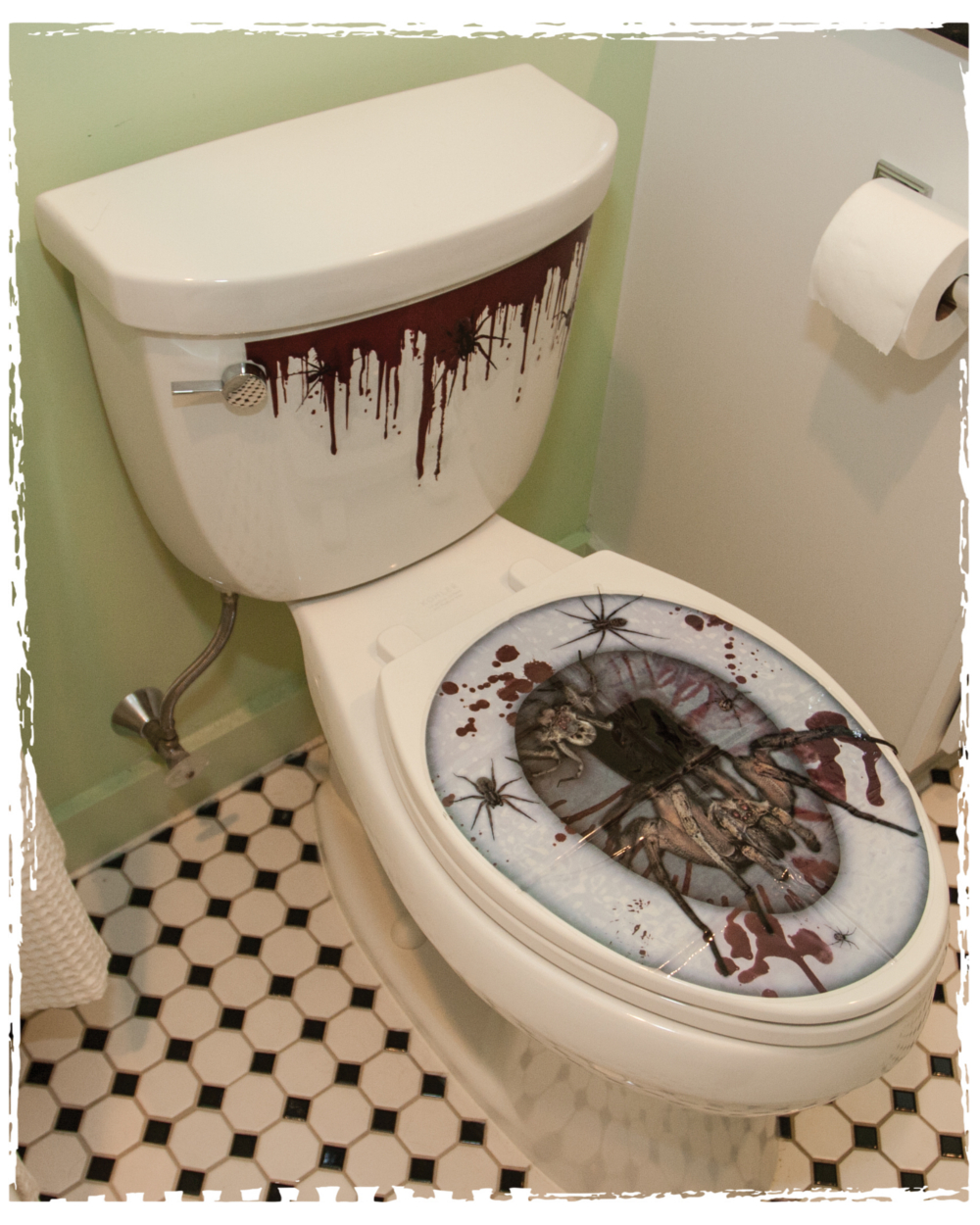 Removable Bathroom Bloody Spiders Toilet Seat Cling Sticker ...