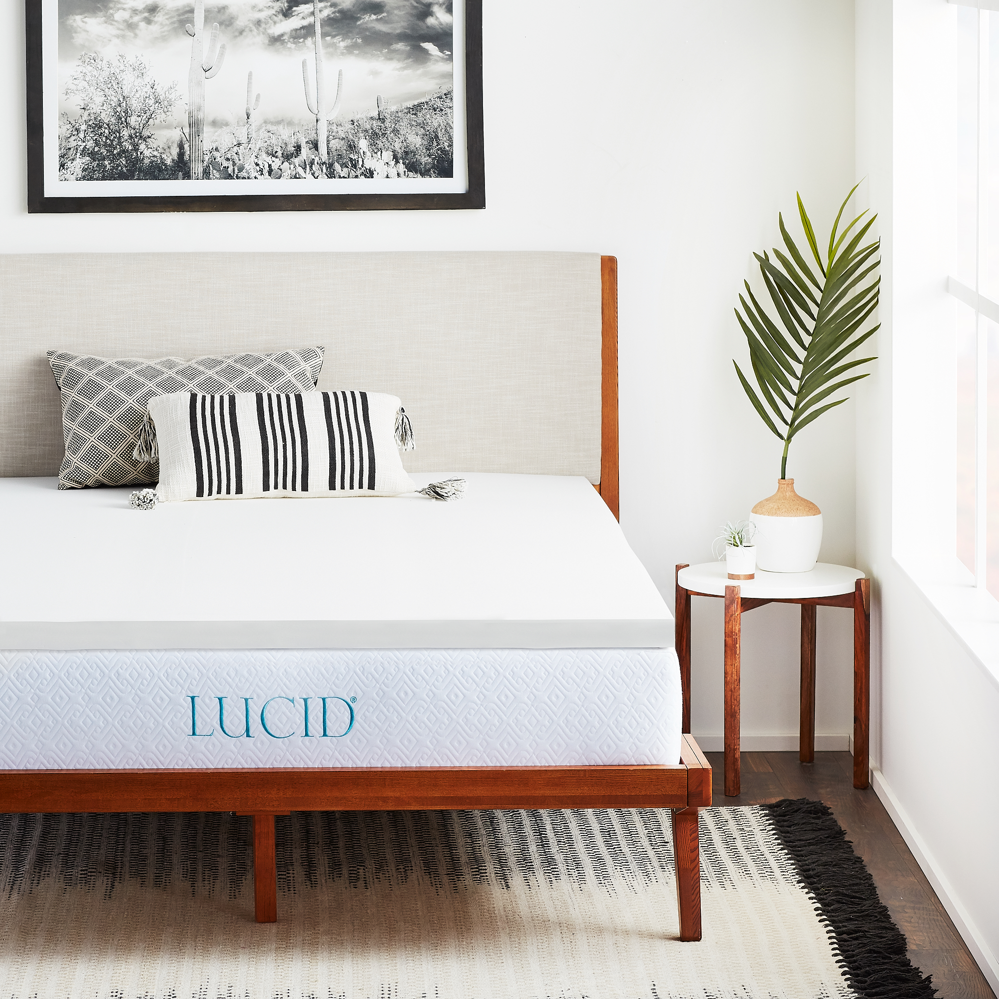 "Lucid 2"" Premium Soft Foam Mattress Topper, Multiple Sizes"