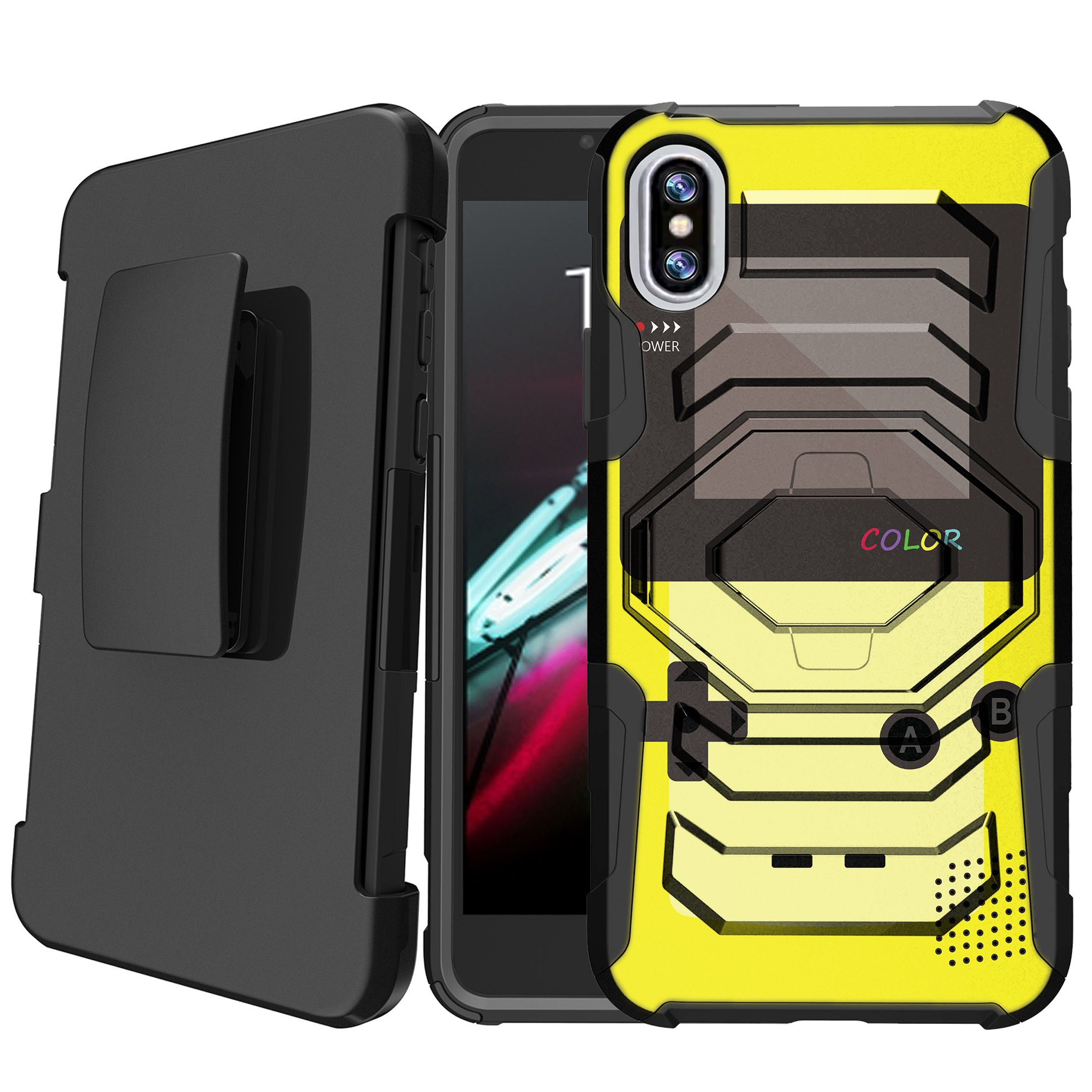 Apple iPhone X 2017 | iPhone 10 Holster Case [Retro Games Case][Hipster Design Series] w/ Built-In Kickstand + Bonus Holster - Red Game