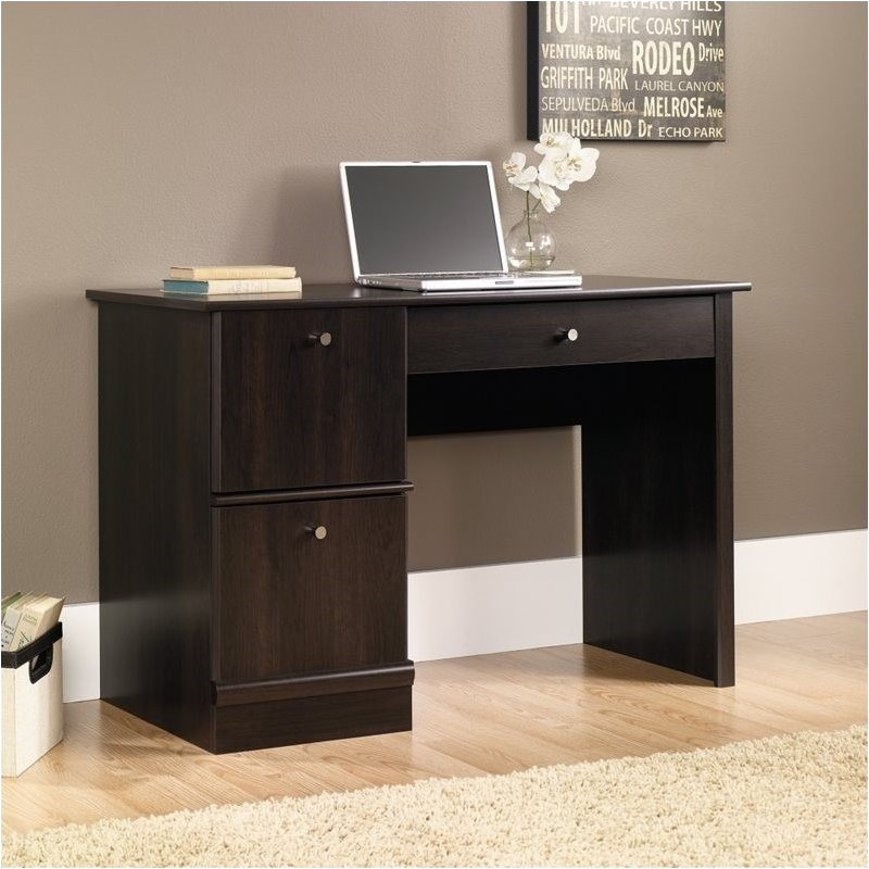 Pemberly Row Computer Desk with Keyboard Tray in Cinnamon Cherry