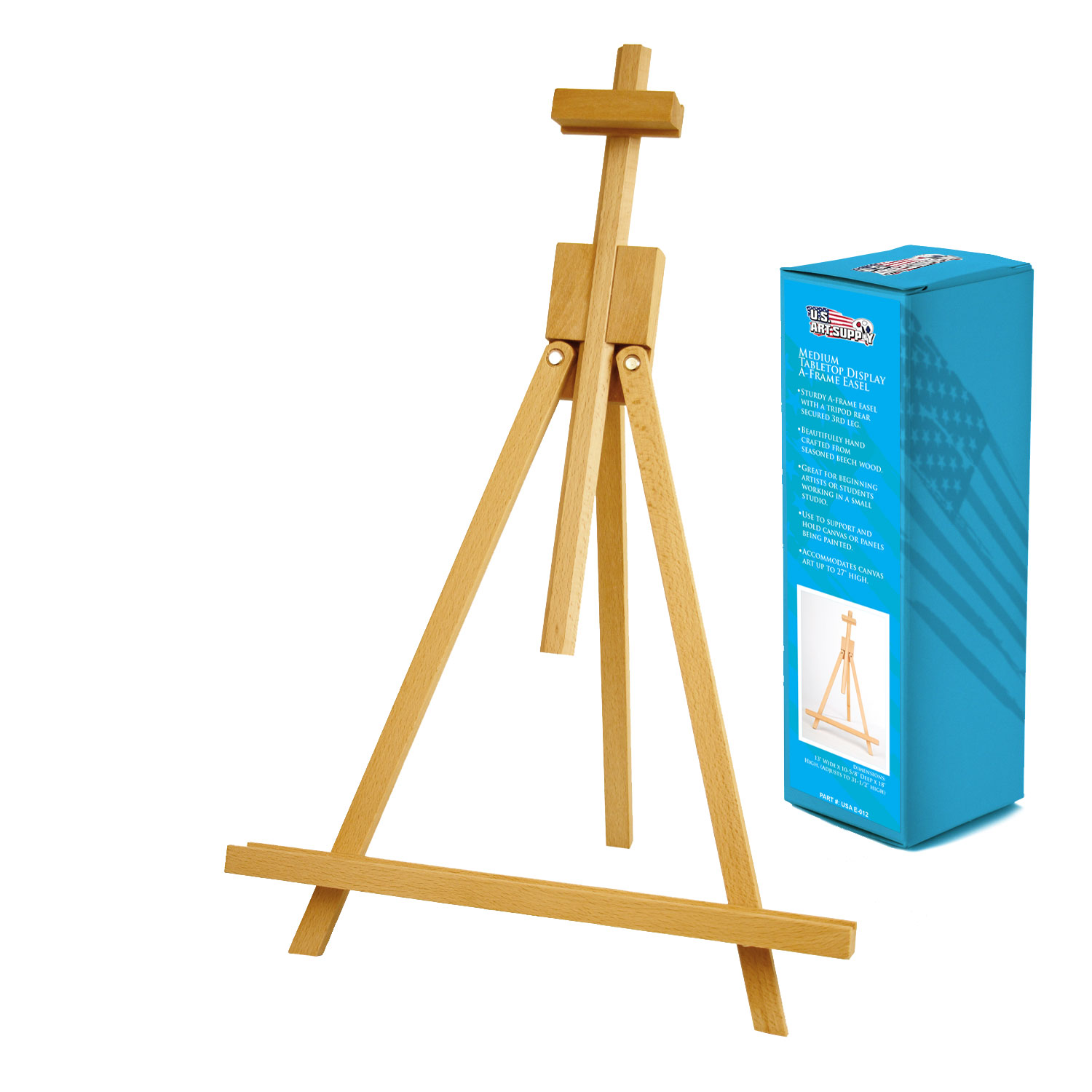 US Art Supply TOPANGA Medium Portable Wood Travel A-Frame Artist Easel Painting