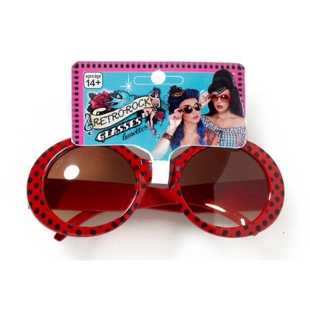 Retro Rock Red Polkadot Costume Sunglasses Adult One Size](Red Polka Dot Party Bags)