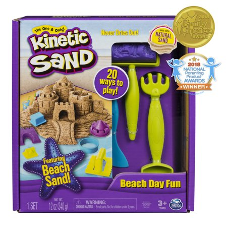 Kinetic Sand, Beach Day Fun Playset with Castle Molds, Tools, and 12 oz. of Kinetic Sand for Ages 3 and