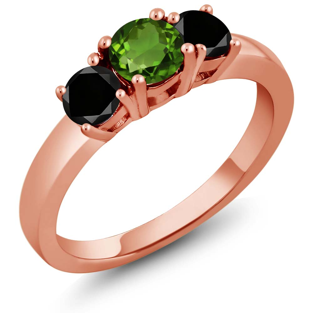 1.04 Ct Green Chrome Diopside Black Diamond 925 Rose Gold Plated Silver Ring