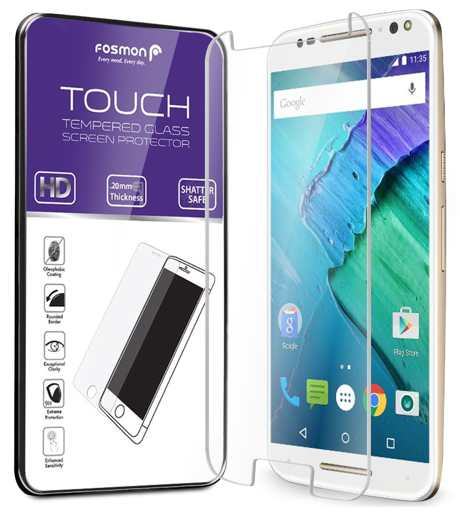 Fosmon Moto X Pure Edition Tempered Glass TOUCH 0.26mm (Shatter Proof) HD Clear Glass Screen Protector - 1 Pack