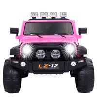 Ktaxon 12V Kids Ride-On Truck Car with Remote Control, 3 Speeds, LED Lights, AUX/ USB / TF Cards - Pink