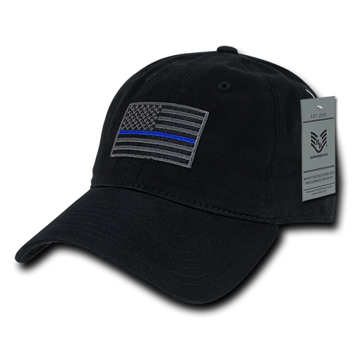 Rapid Dominance Police Thin Blue Line US Flag Baseball Dad Caps Hats Relaxed Cotton Polo