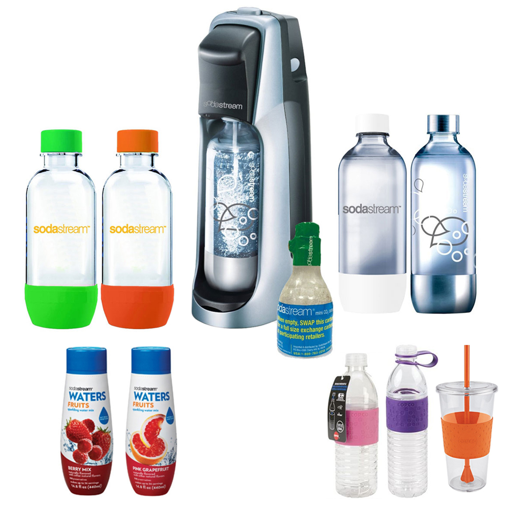 SodaStream Fountain Jet Soda Maker in Black with Exclusive Kit w/ 4 Bottles & Starter CO2, 2 Hydro Bottles Purple, Water Fruits w/ Berry Mix & Pink Grapefruit Flvr & Togo Cup Mug Orange