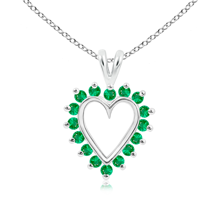 May Birthstone Pendant Necklaces V-Bail Prong Set Open Heart Emerald Pendant Necklace in 950 Platinum (2mm Emerald)... by Angara.com