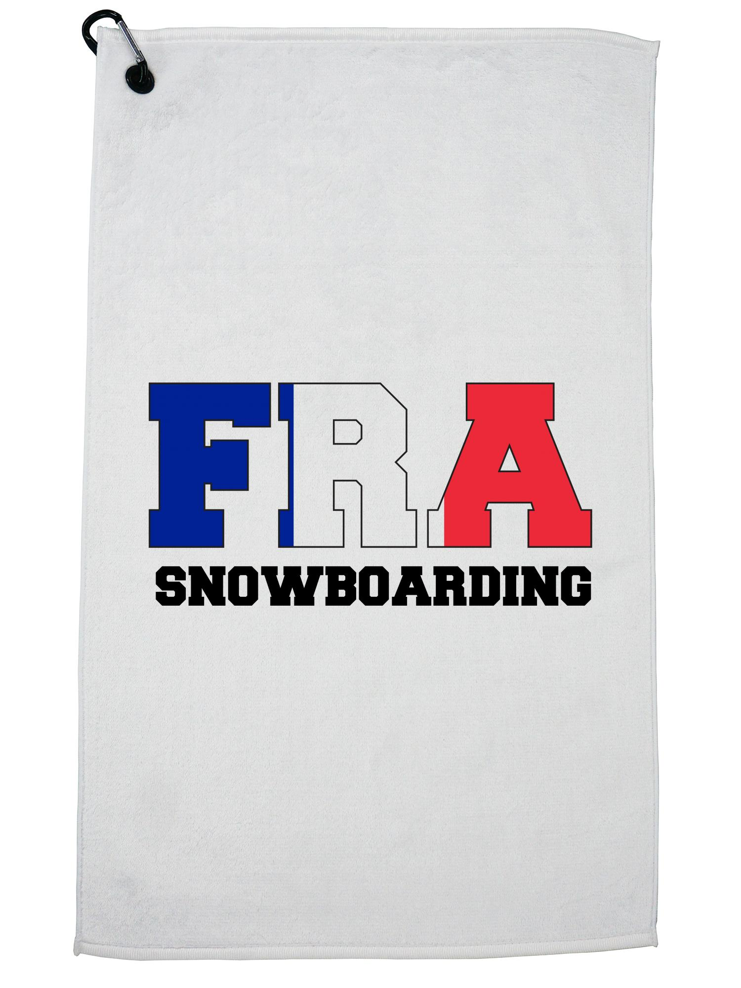 French Snowboarding Winter Olympic FRA Flag Golf Towel with Carabiner Clip by Hollywood Thread