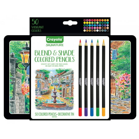 Crayola Blend & Shade Colored Pencils In Decorative Tin, Soft Core, Adult Coloring, 50 Count