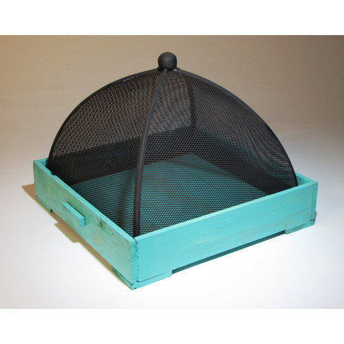 Metrotex Designs Wood Tray with Metal Mesh Cover Gaurd