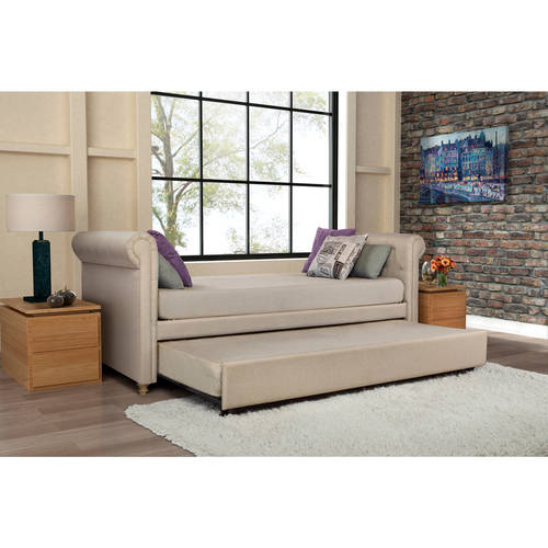dhp sophia linen upholstered daybed and trundle tan