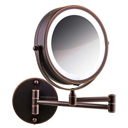 Ovente Wall Mount LED Lighted Makeup Mirror, Battery Operated, 1x/10x Magnification, 7 Inch, Antique Bronze