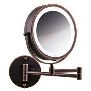 Ovente Wall Mount LED Lighted Makeup Mirror, Battery Operated, 1x/10x Magnification, 7 Inch, Antique Bronze (MFW70ABZ1X10X)