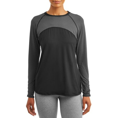 Avia Womens Active Performance Two Tone Long Sleeve Striped T-Shirt