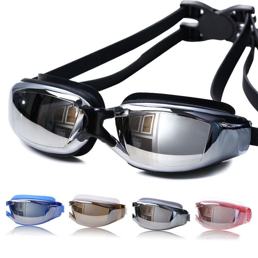 Girl12Queen Adult Waterproof Anti-fog Electroplated HD Lens Glasses Anti-UV Swimming Goggles