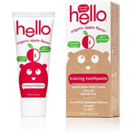 2 Pack - Hello Organic Apple Toddler Training Toothpaste, 1.5 oz