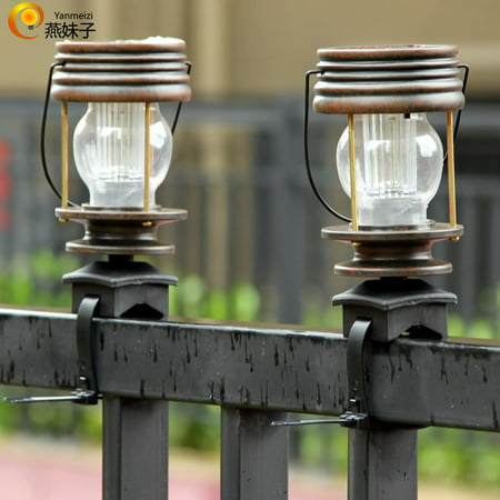 Barn Outdoor Garden (2Pcs Vintage Solar Powered LED Barn Lantern with Fixed Strap for Outdoor Garden Yard Landscape Lighting Color:Warm light )