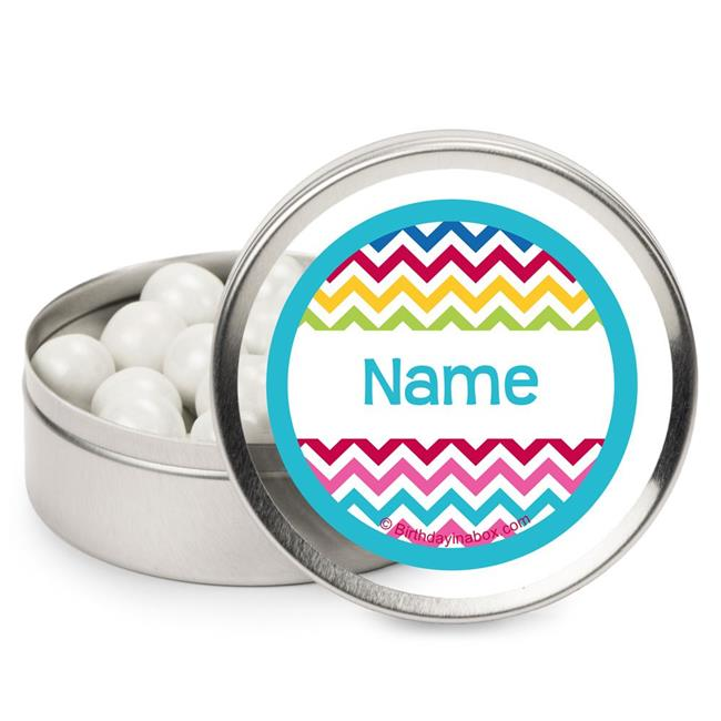 Costume Supercenter BB1404MT Multi Chevron Personalized Candy Tins - Pack of 12