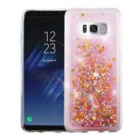 For Samsung Galaxy S8 Case G950 Hybrid Quicksand Liquid Glitter TPU Phone Cover (Stars & Pink Quicksand Glitter )