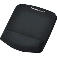 Fellowes PlushTouch Mouse Pad with Wrist Rest, Foam, Black, 7 1/4 x 9-3/8 -FEL9252001