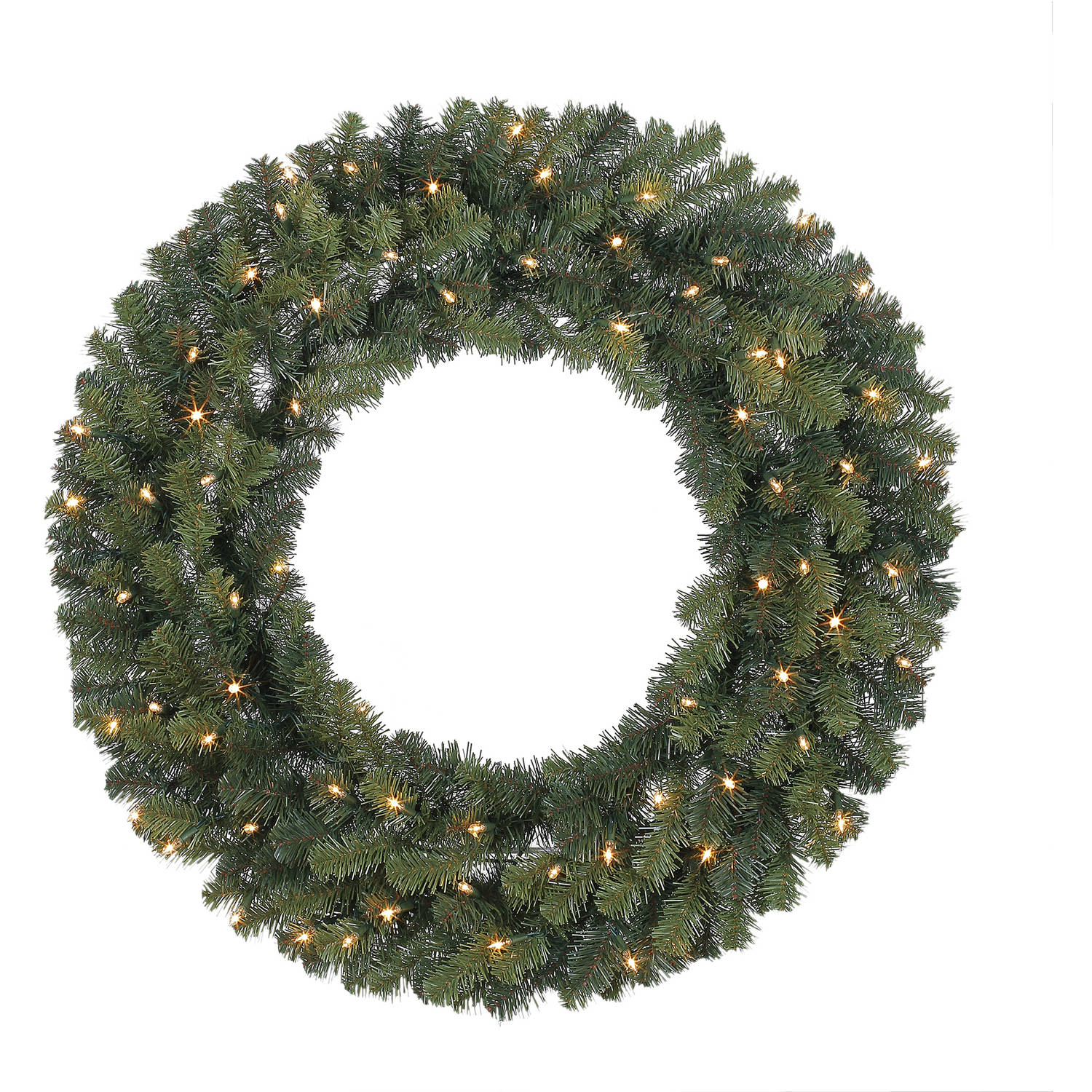 "Holiday Time Christmas Decor Pre-Lit 36"" Basic Artificial Wreath, Clear-Lights"