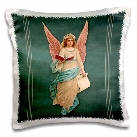 3dRose Angel in peach robe with teal sash and rose wings on a teal background and peach line accents, Pillow Case, 16 by 16-inch