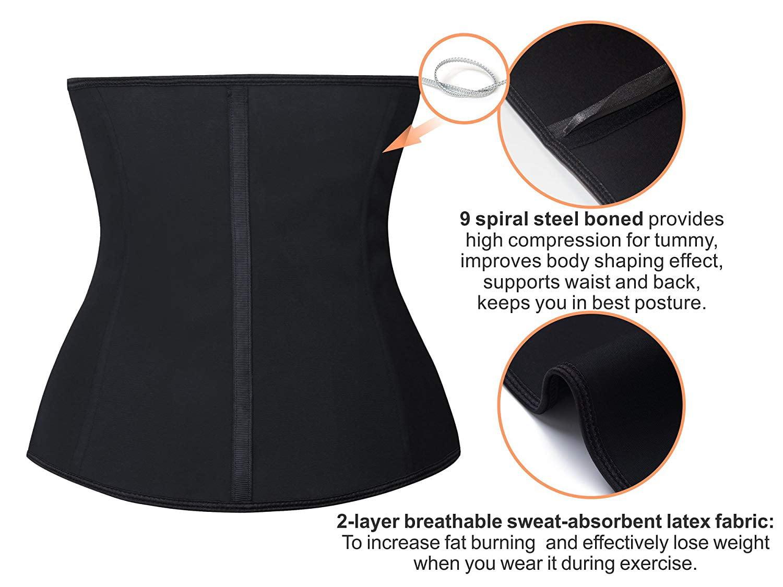 037b963bb51 YIANNA - YIANNA Women s Latex Waist Training Corsets Zip   Hook Body Shaper  Underbust Workout Waist Cincher for Weight Loss Black