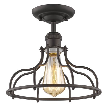 (CHLOE Lighting JAXON Industrial-style 1 Light Rubbed Bronze Semi-flush Ceiling Fixture 10