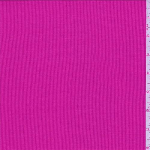 Hot Pink Rayon Rib Knit, Fabric By the Yard