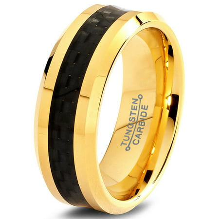 Yellow Gold Plated Edge (Tungsten Wedding Band Ring 8mm for Men Women Comfort Fit 18K Yellow Gold Plated Black Carbon Fiber Beveled Edge Polished Lifetime Guarantee)