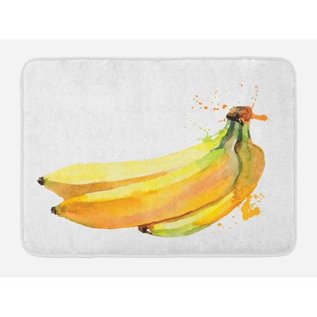 Banana Bath Mat, Watercolor Hand Painted Style Tropical Fruit Illustration with Inscription, Non-Slip Plush Mat Bathroom Kitchen Laundry Room Decor, 29.5 X 17.5 Inches, Yellow Black Green, Ambesonne