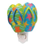 Blue and Green Flip Flop Sandals on Parade Sculpted Resin Night Light